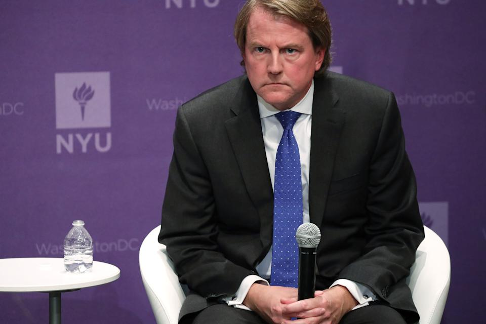 Former White House counsel Don McGahn on Dec. 12, 2019, at the NYU Global Academic Center in Washington, D.C. (Photo by Alex Wong/Getty Images) (Photo: Alex Wong via Getty Images)
