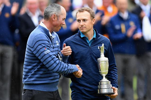 "<h1 class=""title"">146th Open Championship - Final Round</h1> <div class=""caption""> SOUTHPORT, ENGLAND - JULY 23: Jordan Spieth of the United States holds the Claret Jug and is congratulated by Matt Kuchar of the United States after winning the 146th Open Championship at Royal Birkdale on July 23, 2017 in Southport, England. (Photo by David Cannon/R&A/R&A via Getty Images) </div> <cite class=""credit"">David Cannon/R&A</cite>"