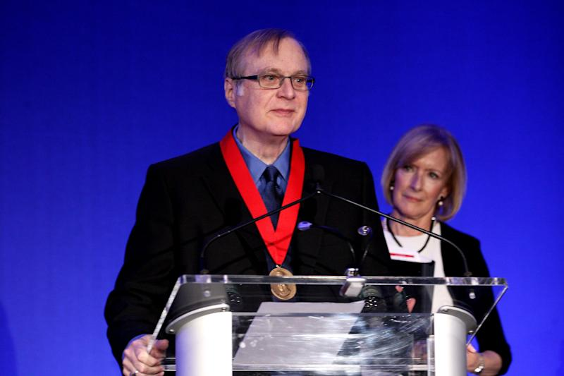 Medalist Paul Allen accepts award at the 2015 Carnegie Medal Of Philanthropy Award Ceremony at New York Public Library on October 15, 2015 in New York City. | Steve Mack—Getty Images.
