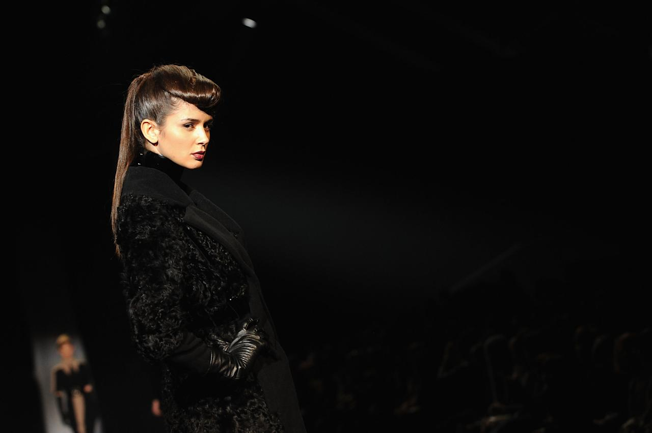 MILAN, ITALY - FEBRUARY 28:  A model walks the runway during the Sergei Grinko fashion show as part of Milan Womenswear Fashion Week Autumn/Winter 2012/2013 on February 28, 2012 in Milan, Italy.  (Photo by Clara Biondo/Getty Images)