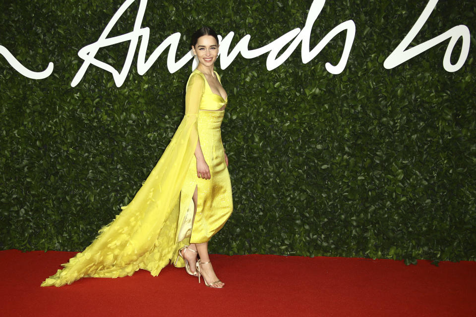 Actress Emilia Clarke poses for photographers upon arrival at the British Fashion Awards in central London, Monday, Dec. 2, 2019. (Photo by Joel C Ryan/Invision/AP)
