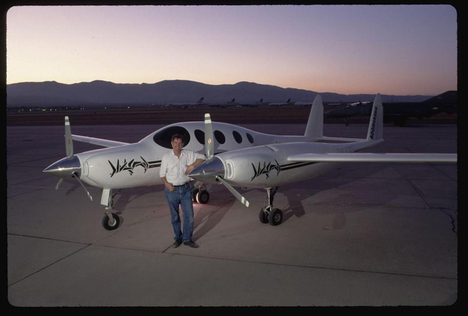 """<p>Burt Rutan's freaky, funky Boomerang makes nearly everyone look twice. Built to stay docile even when one engine goes out, the asymmetrical design of the 202 has its <a href=""""https://airwaysmag.com/industry/innovation/boomerangs-smart-aircraft-design/"""" rel=""""nofollow noopener"""" target=""""_blank"""" data-ylk=""""slk:center of gravity located farther forward"""" class=""""link rapid-noclick-resp"""">center of gravity located farther forward</a> than traditional aircraft. The strange plane can also go faster and fly farther than its conventional contemporaries, all while using smaller engines.</p>"""