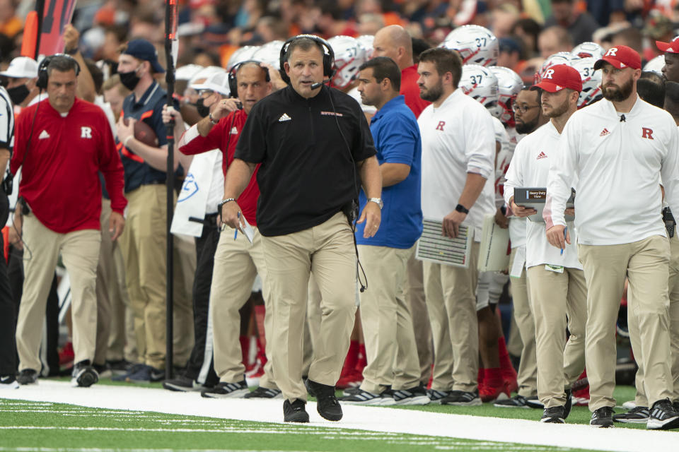 SYRACUSE, NY - SEPTEMBER 11: Rutgers Scarlet Knights Head Coach Greg Schiano looks on from the sidelines during the first half of a NCAA College Football game between the Rutgers Scarlet Knights and the Syracuse Orange on September 11, 2021, at the Carrier Dome in Syracuse, NY. (Photo by Gregory Fisher/Icon Sportswire via Getty Images)