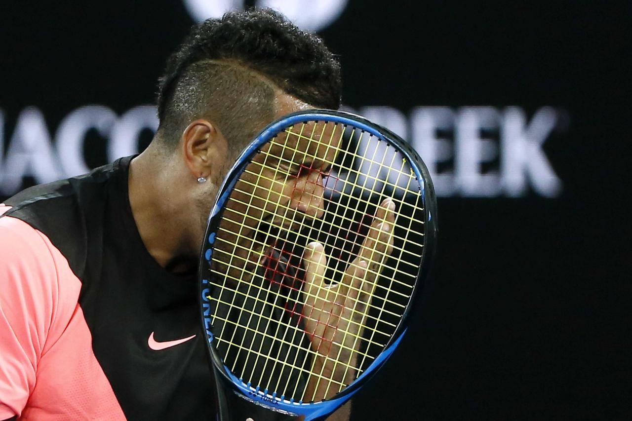 Tennis - Australian Open - Rod Laver Arena, Melbourne, Australia, January 19, 2018. Australia's Nick Kyrgios reacts during his match against France's Jo-Wilfried Tsonga. REUTERS/Thomas Peter