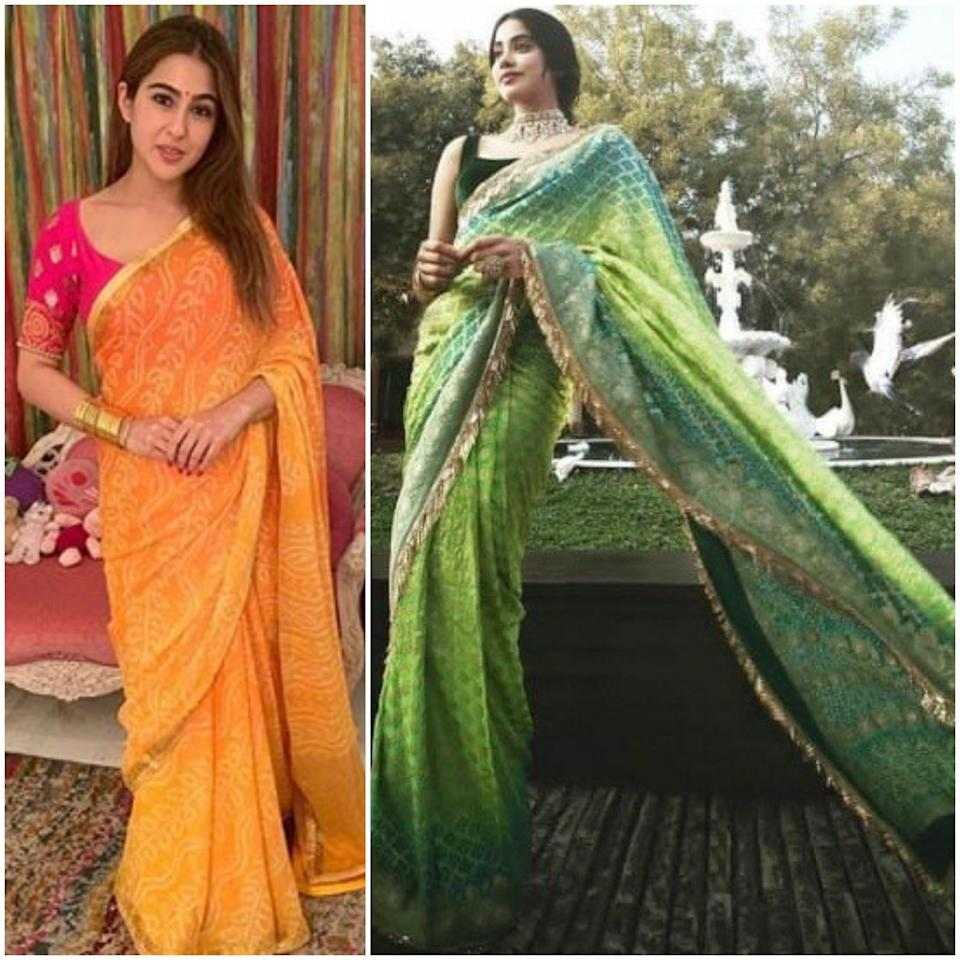 They were neck to neck channeling their inner <em>desi </em>diva in gorgeous <em>bandhani </em>sarees. While Sara picked six yards of yellow chiffon speckled in tie-and-dye patterns, and contrasted it with a pink blouse this Diwali, Janhvi took her <em>bandhani </em>game a few notches up at the Ambani pre-wedding celebrations. She draped a Manish Malhotra <em>bandhej </em>saree with <em>garchola jaal </em>pattern, and completed the attire with a velvet blouse with slim strappy sleeves.