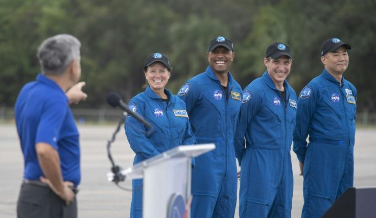 From left to right: NASA astronauts Shannon Walker, Victor Glover and Mike Hopkins, and Japanese astronaut Soichi Noguchi, seen November 8 2020