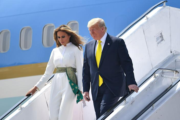 President Donald Trump and first lady Melania Trump disembark from Air Force One in Ahmedabad, India, on Feb. 24.