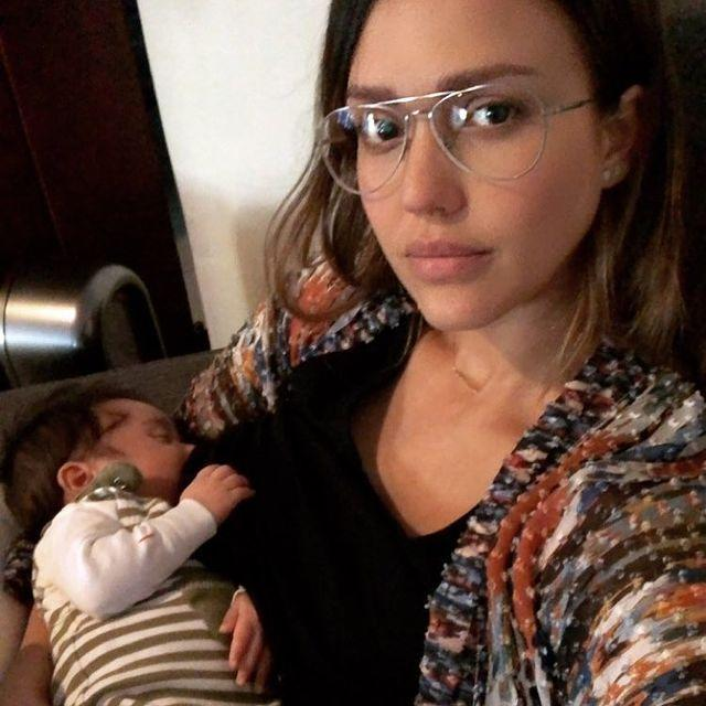 """<p>The mom of three snapped this makeup-free pic highlighting her cheekbones as her son slept soundly.</p><p><a href=""""https://www.instagram.com/p/Be39iXYhsJQ/?igshid=h765zehxse9r"""" rel=""""nofollow noopener"""" target=""""_blank"""" data-ylk=""""slk:See the original post on Instagram"""" class=""""link rapid-noclick-resp"""">See the original post on Instagram</a></p>"""