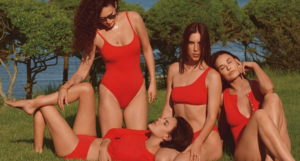 Demi Moore stars with her daughters in a new swimwear campaign for Andie Swim. (Image via Andie/Photo by Cass Bird)