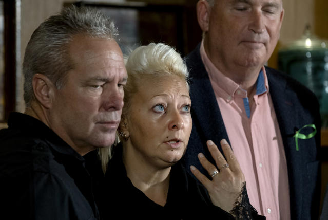 Charlotte Charles, mother of Harry Dunn, joined by husband Bruce Charles, left, stepfather of Dunn (Picture: AP)