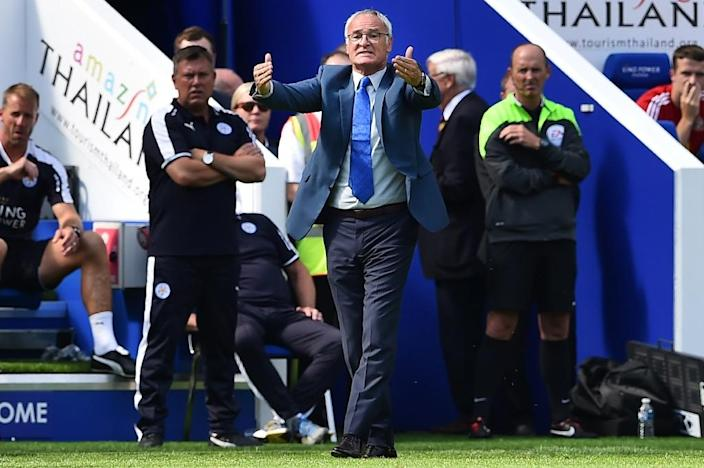 Leicester City manager Claudio Ranieri pictured on the touchline during an English Premier League game against Sunderland at the King Power Stadium in Leicester, central England on August 8, 2015 (AFP Photo/Ben Stansall)