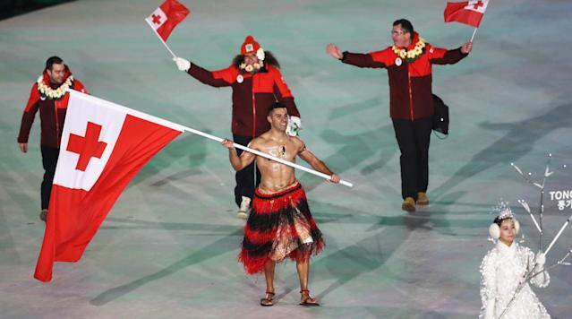 <p>The Opening Ceremony for the 2018 Winter Olympics in PyeongChang, South Korea happened at the crack of dawn on Friday morning. It featured the normal fanfare, some awesome visual art and the usual assortment of inspiring videos/productions. </p><p>On the outfit front, as you might expect, pretty much every country wore the same thing—thick coats and beanies. Which makes sense, right? It's been really, really cold in PyeongChang in the lead-up to the Ceremony and temperatures hovered right around 25 degrees on the night of. So yeah, representatives from basically every country bundled up. </p><p>Except Tonga. </p><p>The flag bearer for the island nation in the South Pacific was shirtless and lathered up in a healthy amount of oil. Check him out:</p><p>It's actually not the first time we've seen this guy. His name is Pita Taufatofua, and he was Tonga's flag bearer at the 2016 Summer Games in Rio too, where he competed in taekwondo. This time around, he's qualified in cross country skiing even though he'd literally never tried the sport until after Rio. </p><p>Legend on many fronts. </p>