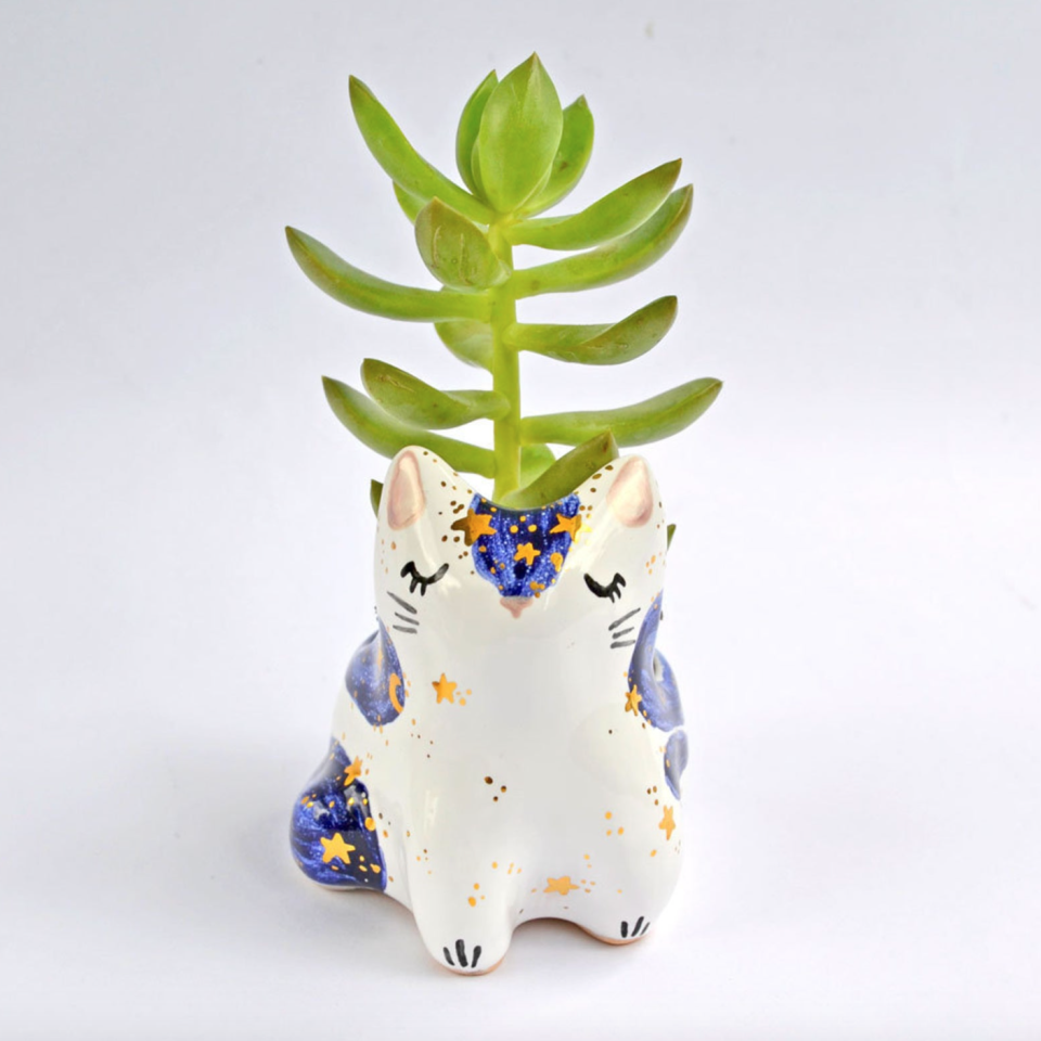 Ceramic Cat Planter (Photo via Etsy)