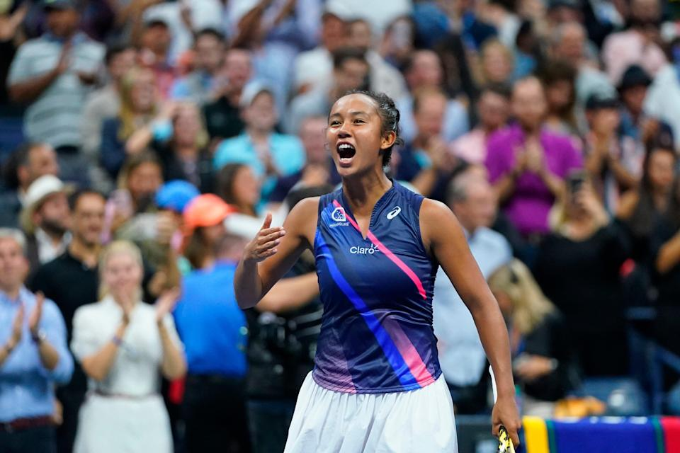 Leylah Fernandez celebrates after beating Aryna Sabalenka in the semifinals of the 2021 U.S. Open.