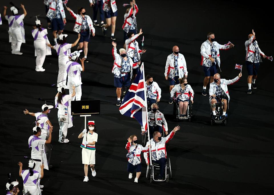 <p>Headed up by swimmer Ellie Simmonds and archer John Stubbs, the British flag makes its way around the stadium. Simmonds is one to watch over the next few days – she'll be aiming to add to her already impressive five Paralympic gold medal tally. </p>