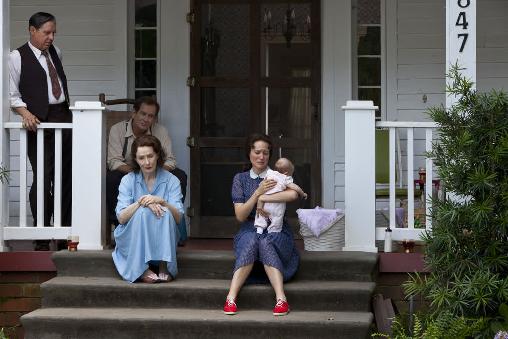 """John Doe as A.P. Carter, Frances Conroy as Maybelle Carter and Jewel as June Carter Cash in the Lifetime Original Movie, """"Ring of Fire."""""""