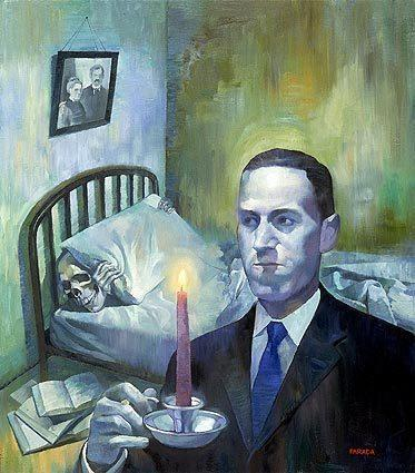 An illustration of the writer H.P. Lovecraft. 83 years after his death, his racist ideas are drawing scrutiny