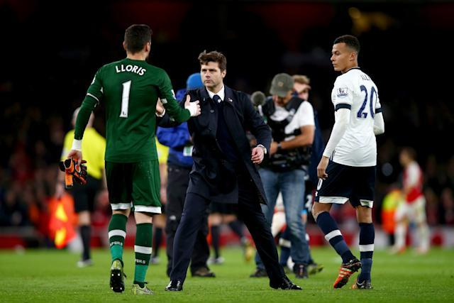 Hugo Lloris, Mauricio Pochettino and Dele Alli