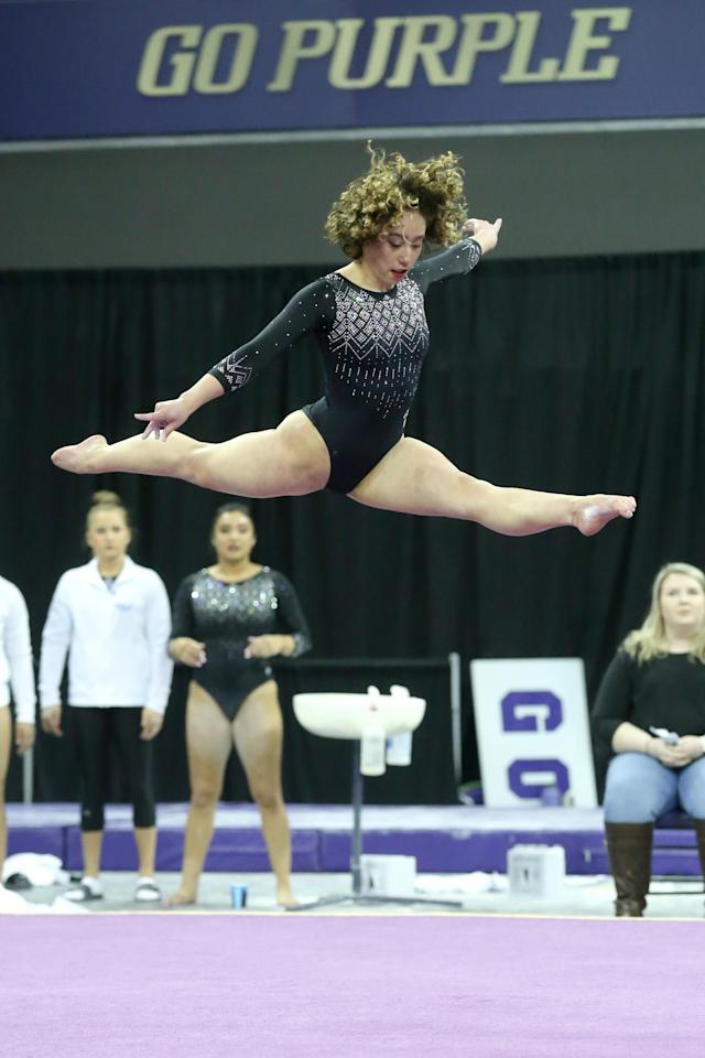 UCLA gymnast Katelyn Ohashi performs her floor exercise during a women's college gymnastics meet between the UCLA Bruins and the Washington Huskies on February 10, 2019, at the Alaska Airlines Arena in Seattle, WA. (Photo by Jesse Beals/Icon Sportswire via Getty Images)