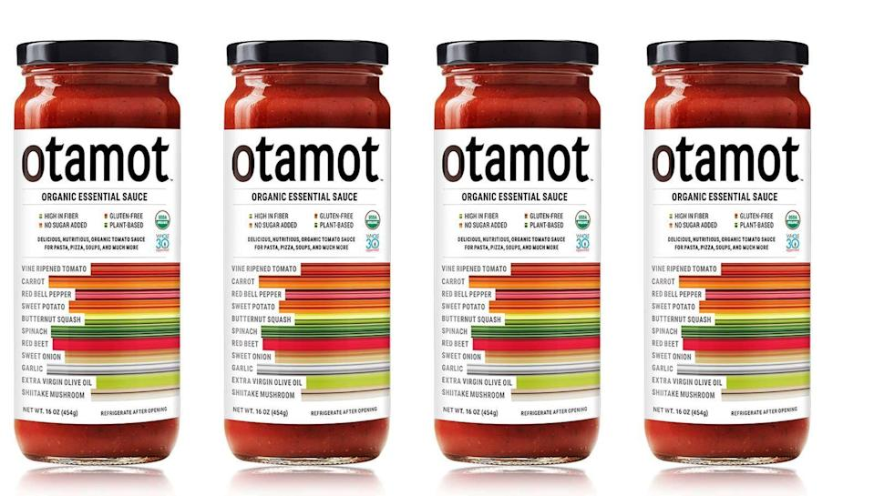 """<p><strong>Otamot</strong></p><p>otamotfoods.com</p><p><strong>$27.99</strong></p><p><a href=""""https://www.otamotfoods.com/products/otamot-tomato-sauce-4-pack"""" rel=""""nofollow noopener"""" target=""""_blank"""" data-ylk=""""slk:Shop Now"""" class=""""link rapid-noclick-resp"""">Shop Now</a></p><p>Otamot (tomato spelled backwards) was created by a dad who wanted to find a way to sneak in more vegetables into his picky-eater daughter's diet. <strong>The essential sauce from Otamot does just that, packing in a variety of antioxidant-rich vegetables and wholesome ingredients. </strong>A 1/2 cup serving has 90 calories, 6 grams of fiber (wow!), and 350mg sodium which is considerably less than other tomato sauces on the market. Plus, it's free from added sugar and is one of the best tasting tomato sauces we have tried. </p>"""