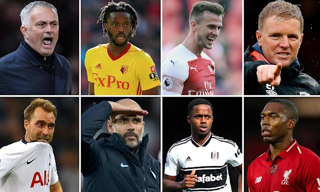 (Clockwise from top left) José Mourinho, Nathaniel Chalobah, Rob Holding, Eddie Howe, Daniel Sturridge, Ryan Sessegnon, Pep Guardiola and Christian Eriksen.