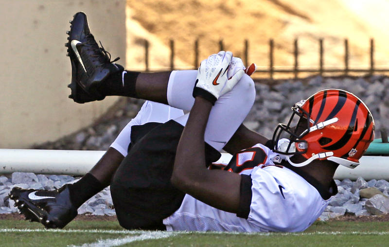 Cincinnati Bengals wide receiver A.J. Green grabs his knee after injuring it trying to catch a pass during practice at the NFL football team's training camp on Thursday, July 25, 2013, in Cincinnati. Team officials said Green seemed alright after practice but were performing more tests. (AP Photo/Al Behrman)