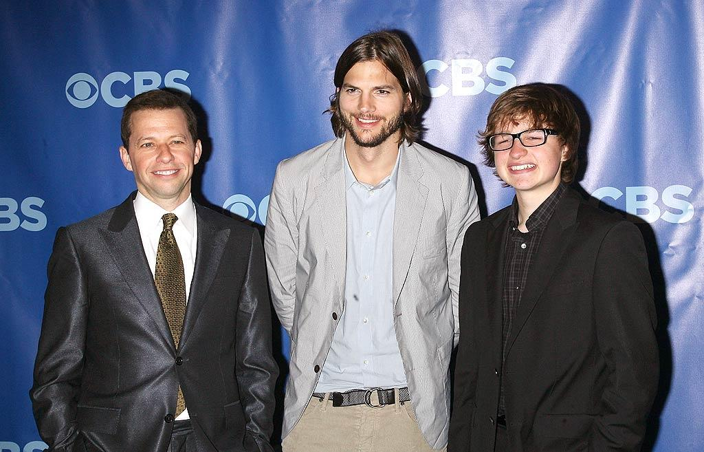"Sorry, Charlie! It's all about Ashton now. ""Two and a Half Men"" stars Jon Cryer and Angus T. Jones met with their newest castmate, Charlie Sheen's replacement Ashton Kutcher, at the CBS Upfronts in New York City on Wednesday. Charlie made sure <i>not</i> to be a good sport about the whole thing. ""Ashton Kutcher is a sweetheart and a brilliant comedic performer. Oh wait, so am I!!"" he said in reaction to the news. ""Enjoy the show America, Enjoy seeing 2.0 in the demo every Monday, WB. Enjoy planet Chuck, Ashton. There is no air, laughter, loyalty, or love there."" Jim Spellman/<a href=""http://www.wireimage.com"" target=""new"">WireImage.com</a> - May 18, 2011"