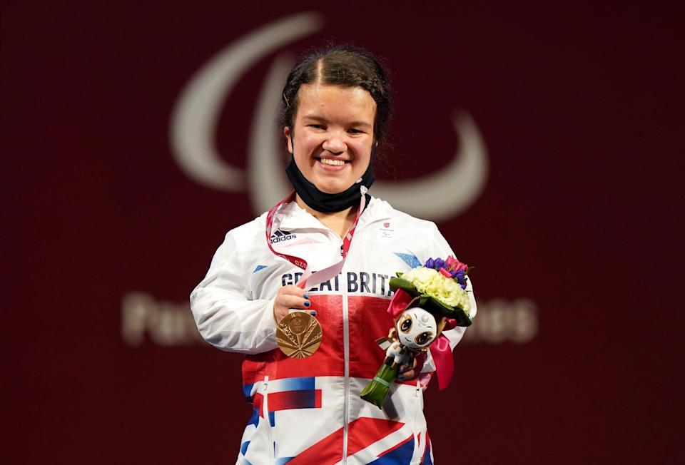 Great Britain's Olivia Broome on the podium after winning the bronze medal in the Women's -50 kg Final at the Tokyo International Forum during day three of the Tokyo 2020 Paralympic Games in Japan. Picture date: Friday August 27, 2021. (Photo by Tim Goode/PA Images via Getty Images)