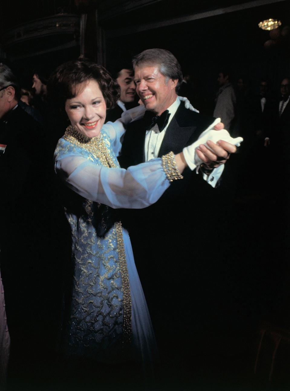 Rosalynn Carter wore an off-the-rack Mary Matise for Jimmae dress in 1977Bettmann Archive