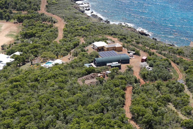 Facilities at Great St. James Island, a property linked to financier Jeffrey Epstein, are seen in an aerial view near Charlotte Amalie, St. Thomas, U.S. Virgin Islands July 21, 2019. REUTERS/Marco Bello