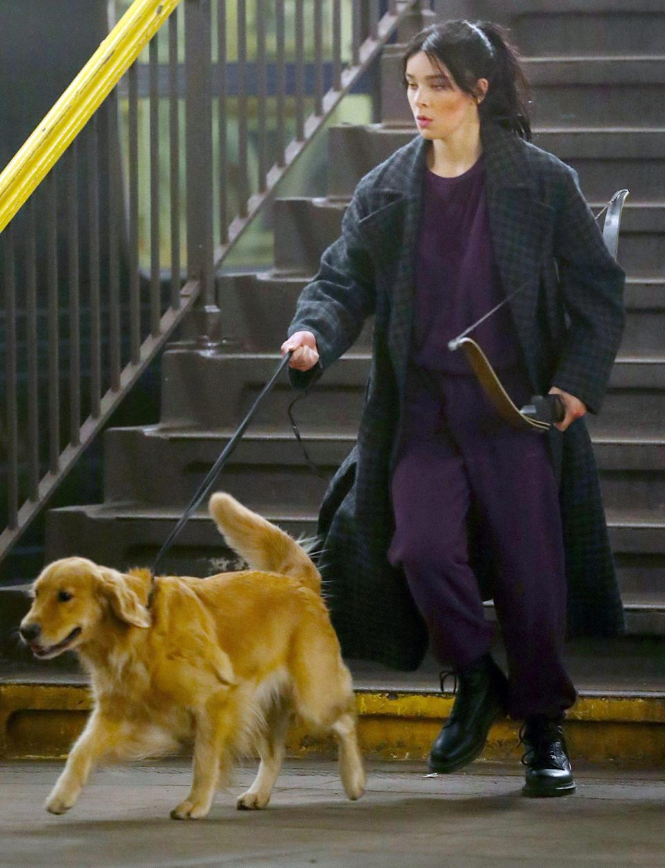 <p>Hailee Steinfled is seen in full character as Kate Bishop on the set of Disney+'s new series <em>Hawkeye </em>on Wednesday in N.Y.C.</p>