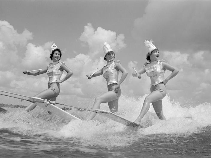 Water skiing performers on July 4, 1955.