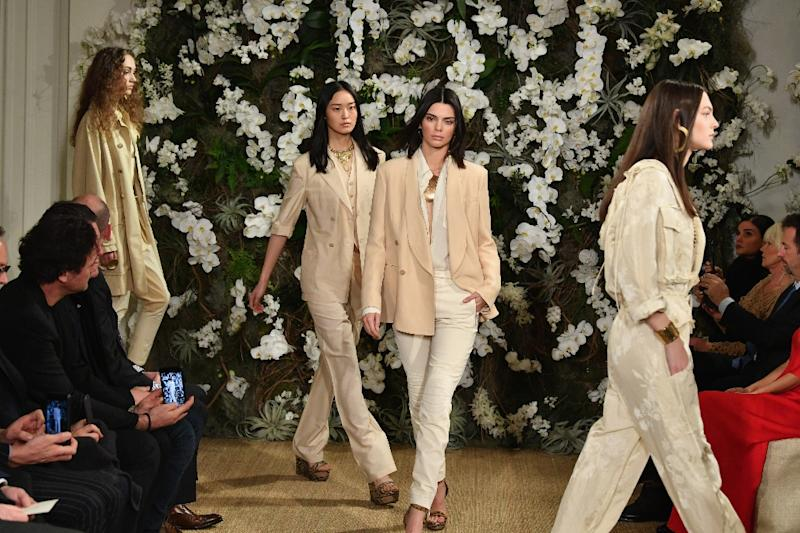 Ralph Lauren stunned guests by adorning his flagship Beaux Arts store on Madison Avenue in wall-to-wall white orchids and filling the air with birdsong (AFP Photo/Slaven Vlasic)