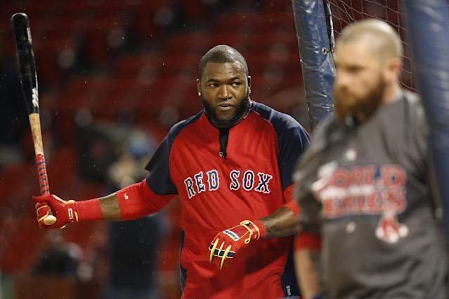 Boston Red Sox's David Ortiz walks into the batting cage during a workout at Fenway Park Tuesday, Oct. 22, 2013, in Boston. The Red Sox are scheduled to host the St. Louis Cardinals in Game 1 of baseball's World Series on Wednesday. (AP Photo/Elise Amendola)