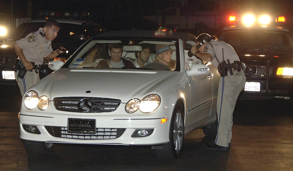 "Britney Spears is pulled over by the California Highway Patrol on Friday evening for speeding. HotShots Worldwide/<a href=""http://www.splashnewsonline.com"" target=""new"">Splash News</a> - August 24, 2007"
