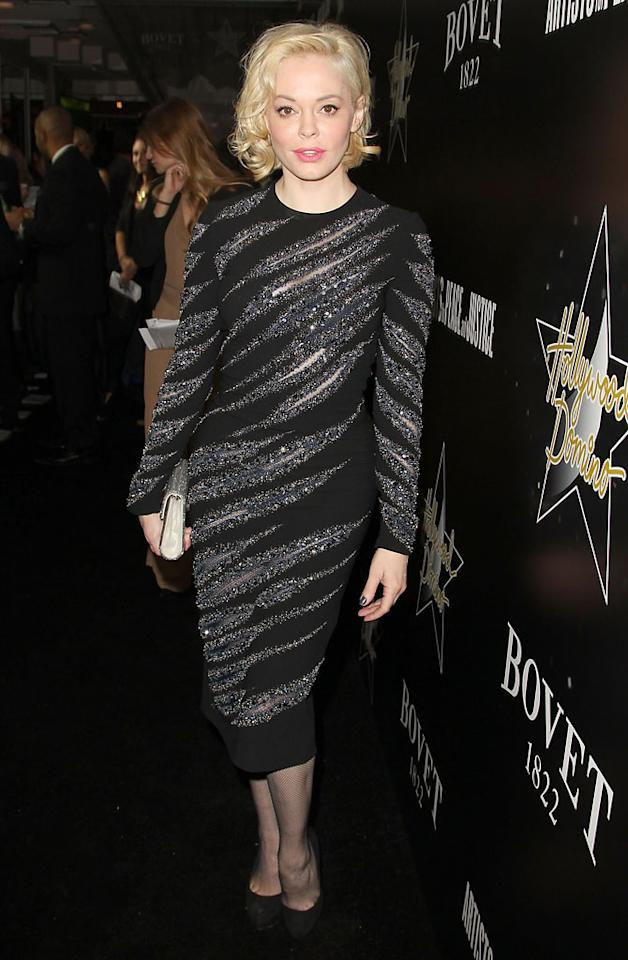 Rose McGowan attends the Hollywood Domino And Bovet 1822 Gala Benefiting Artists For Peace And Justice at Sunset Tower on February 21, 2013 in West Hollywood, California.