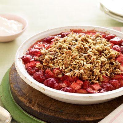 """<p>Sweet desserts don't have to be sugar-laden or full of butter. </p><p><strong><a href=""""https://www.countryliving.com/food-drinks/recipes/a21226/strawberry-rhubarb-pie-recipe-gh0410/"""" rel=""""nofollow noopener"""" target=""""_blank"""" data-ylk=""""slk:Get the recipe"""" class=""""link rapid-noclick-resp"""">Get the recipe</a>.</strong></p>"""