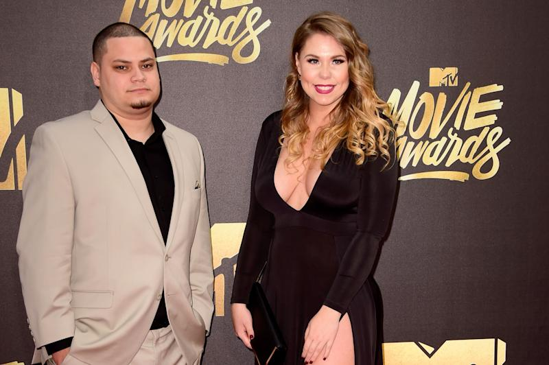 Jo Rivera sports a well tailored creme color suit beside his ex-girlfriend, Kailyn Lowry in a black long-sleeve dress