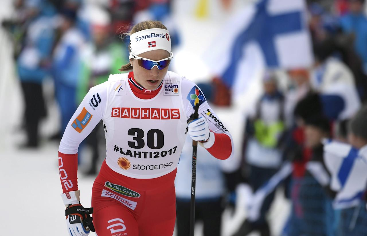 Astrid Uhrenholdt Jacobsen of Norway participates during the Women's 10km Individual Classic of the FIS Nordic Ski World Championships in Lahti, Finland February 28, 2017. Lehtikuva/Markku Ulander/via REUTERS ATTENTION EDITORS - THIS IMAGE WAS PROVIDED BY A THIRD PARTY. FOR EDITORIAL USE ONLY. NO THIRD PARTY SALES. NOT FOR USE BY REUTERS THIRD PARTY DISTRIBUTORS. FINLAND OUT. NO COMMERCIAL OR EDITORIAL SALES IN FINLAND.