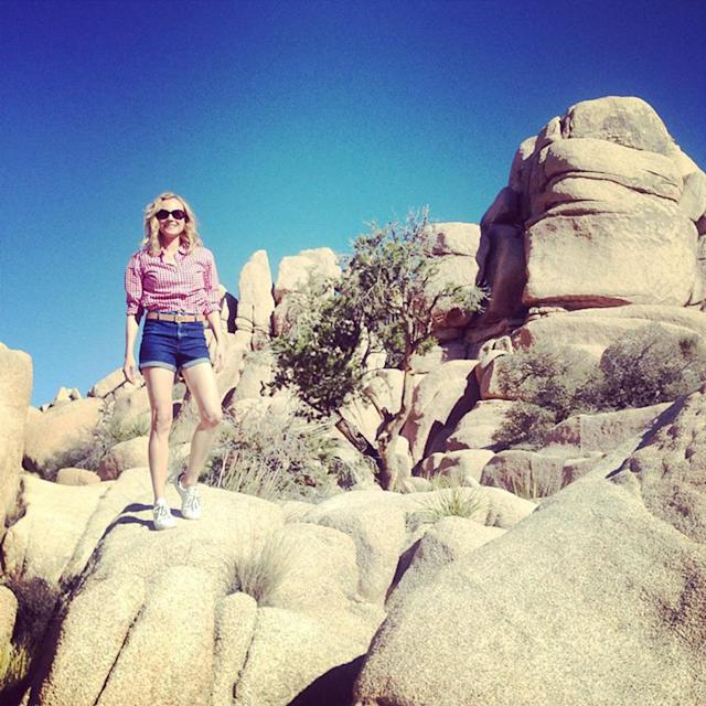 <p><span>Of course, Diane Kruger turned some boulders into a runway. The fashionable star fit right in at Joshua Tree, in short jean shorts and a red plaid top. </span>(Photo: Diane Kruger via Instagram) </p>