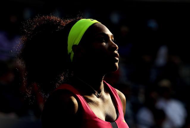 NEW YORK, NY - AUGUST 30: Serena Williams of the United States looks on against Maria Jose Martinez Sanchez of Spain during their women's singles second round match on Day Four of the 2012 U.S. Open at the USTA Billie Jean King National Tennis Center on August 30, 2012 in the Flushing neighborhood, of the Queens borough of New York City. (Photo by Mike Stobe/Getty Images for USTA)