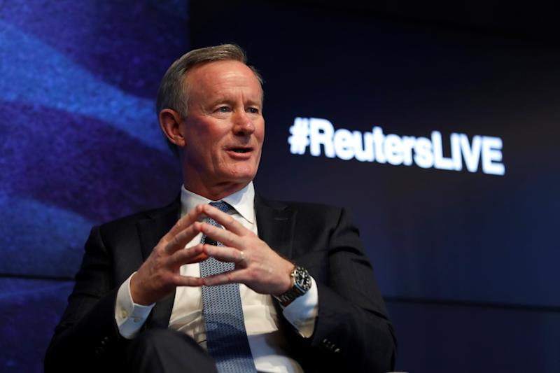 Retired U.S. Navy Admiral William McRaven, the former head of U.S. special operations who oversaw the raid on Osama bin Laden, speaks at a Reuters Newsmakers event in New York City, New York, U.S., May 22, 2019. (Mike Segar/Reuters)