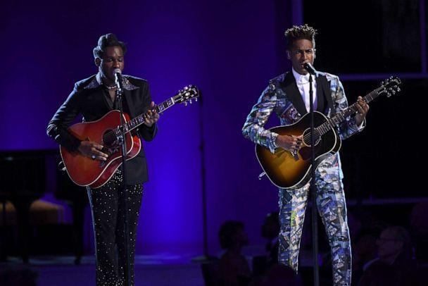 PHOTO: Leon Bridges, left, and Jon Batiste perform an in memoriam tribute at the 73rd Emmy Awards on Sept. 19, 2021, in Los Angeles. (Phil McCarten/Invision for the Television Academy via AP)