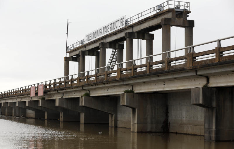 Water from recent rainfalls pool up along the Steele Bayou Drainage Structure on a levee in Warren County, Miss., as shown in this Friday, March 1, 2019 photograph. As Mississippi River backwaters in the Eagle Lake area are at flood level and are projected to rise even higher, it is causing limited access to residents by emergency vehicles. The levee protects thousands of square miles of the Delta region from even worse flooding by the Mississippi River. (AP Photo/Rogelio V. Solis)