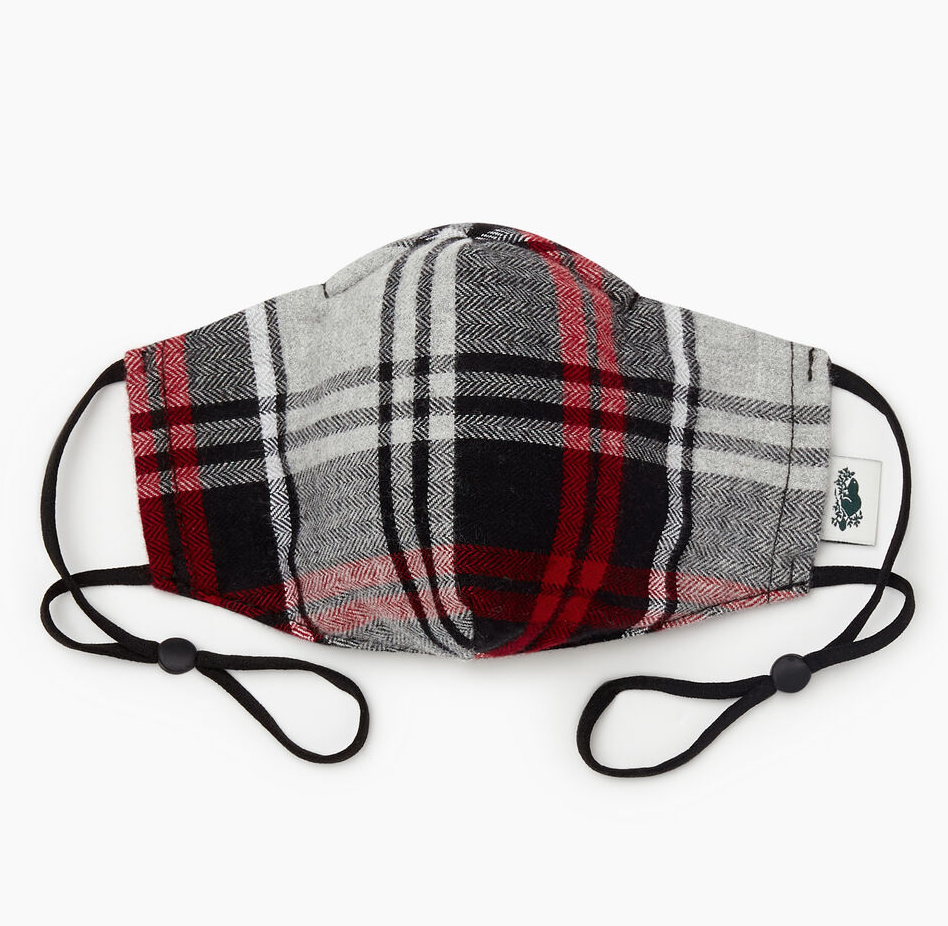 Plaid Reusable Face Mask in Black. Image via Roots.