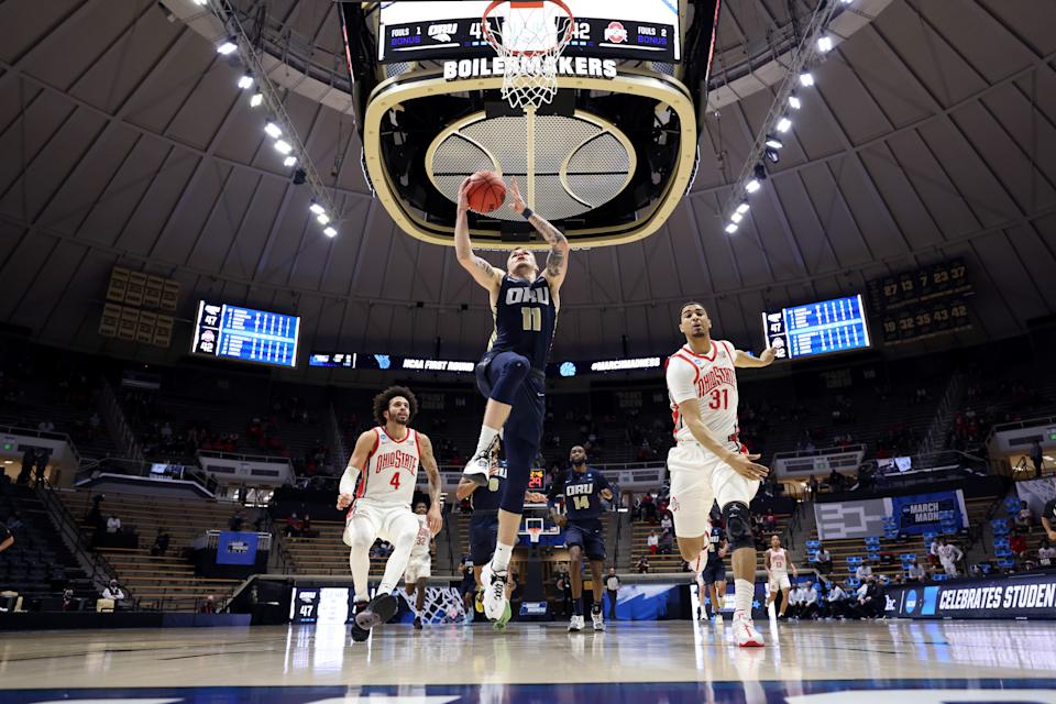 Oral Roberts upended Ohio State and a whole lot of brackets. (Photo by Gregory Shamus/Getty Images)