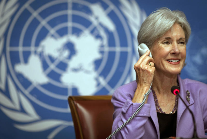 U.S. health secretary Kathleen Sebelius smiles during a press conference at the United Nations headquarters in Geneva, Switzerland, Tuesday, May 17, 2011.  Sebelius is in Geneva to attend the  annual meeting of the World Health Organization, WHO. (AP Photo/Anja Niedringhaus)