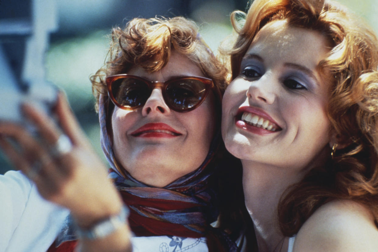 Actresses Susan Sarandon (left) and Geena Davis star in the film 'Thelma And Louise', 1991. (Photo by Fotos International/Getty Images)