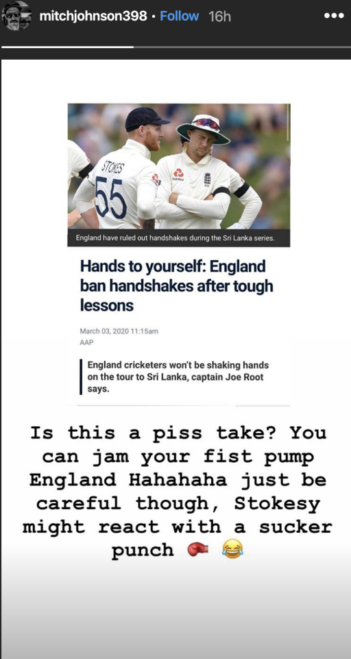 Mitchell Johnson's criticism of England, pictured here on Instagram.