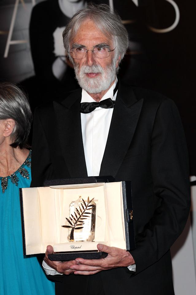 CANNES, FRANCE - MAY 27:  Winner of the  Palme D'Or for 'Amour' director Michael Haneke  poses at the Winners Photocall during the 65th  Annual Cannes Film Festival on May 27, 2012 in Cannes, France.  (Photo by Vittorio Zunino Celotto/Getty Images)